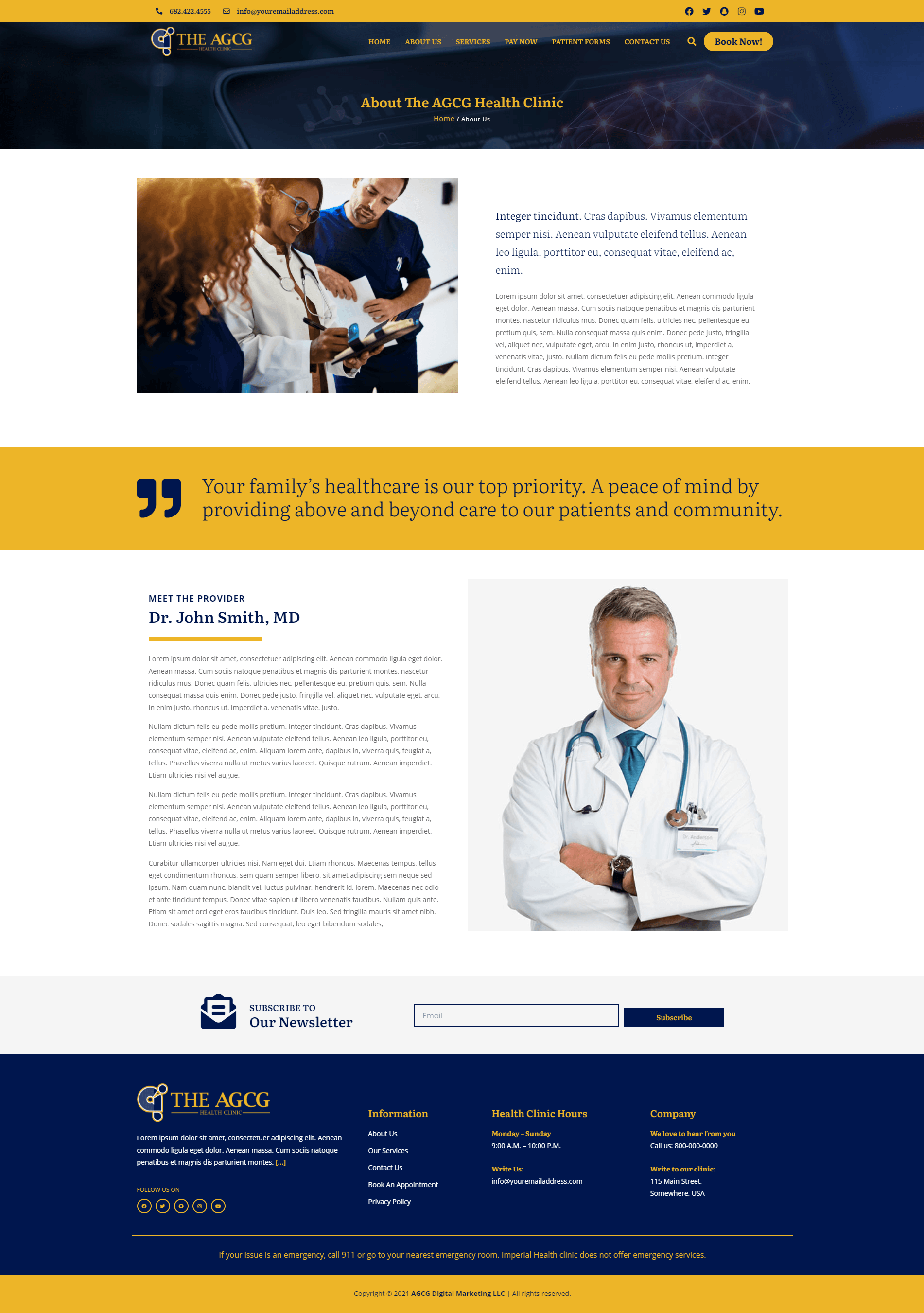 The AGCG Health Clinic About Us