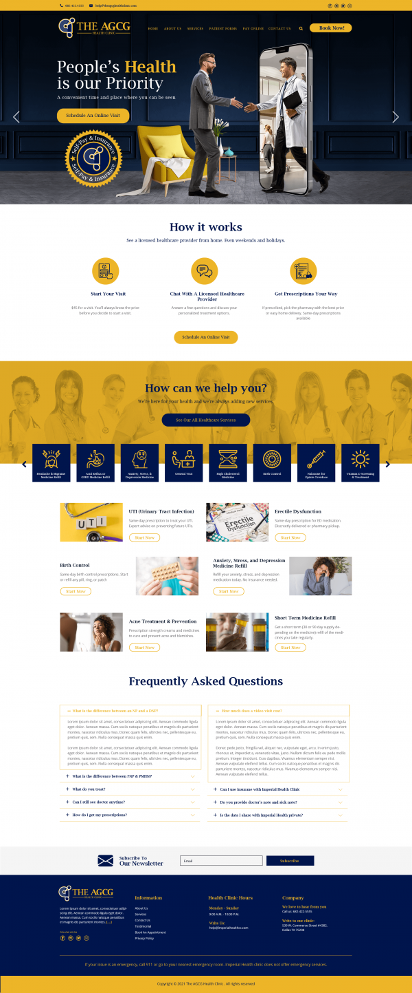 The AGCG Health Clinic Homepage